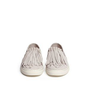 TORY BURCH Fria Fringe Suede Slip On Sneakers EUC